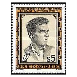 1 عدد تمبر لودویک ویتگنشتاین - فیلسوف ، فلسفه اعداد و منطق - اتریش 1989