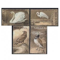 4 عدد تمبر پرندگان - کتاب قرمز - مولداوی 2003