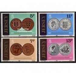 4 عدد تمبر سکه ها - جرسی 1977
