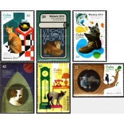 6 عدد تمبر گربه ها - نمایشگاه جهانی تمبر مالزی - کوبا 2014
