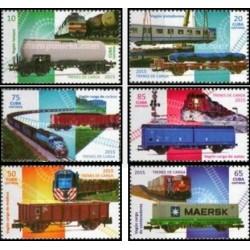 6 عدد تمبر قطارهای باری - کوبا 2015