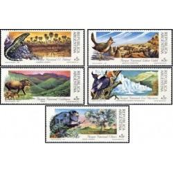 5 عدد تمبر پارکهای ملی - حیوانات  - آرژانتین 1989