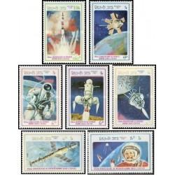 7 عدد تمبر پروازهای فضائی - لائوس 1986