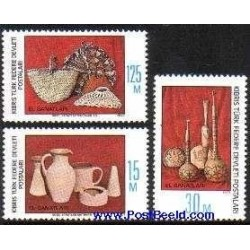 3 عدد تمبر صنایع دستی - قبرس ترک 1977