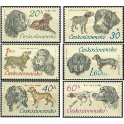 6 عدد تمبر سگهای شکاری - چکوسلواکی 1973