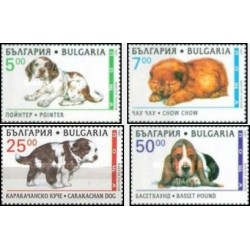 4 عدد تمبر سگها - بلغارستان 1997