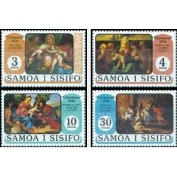 4 عدد تمبر کریستمس - تابلو نقاشی - ساموا 1974