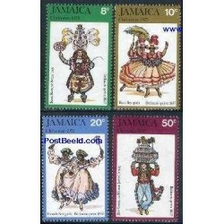 4 عدد تمبر کریستمس - لباسهای محلی - جامائیکا 1975