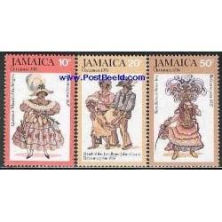 3 عدد تمبر کریستمس - لباسهای محلی - جامائیکا 1976