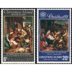 2 عدد تمبر کریستمس - تابلو نقاشی - جزیره کریستمس 1971