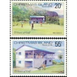 2 عدد تمبر بیست و پنجمین سالگرد کلوپ گلف - جزیره کریستمس 1980