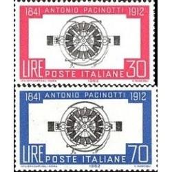 2 عدد تمبر 50مین سال مرگ پاسینوتی - فیزیکدان - ایتالیا 1962