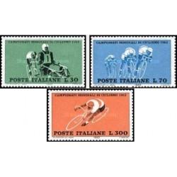 3 عدد تمبر مسابقات قهرمانی دوچخه سواری جهانی - ایتالیا 1962
