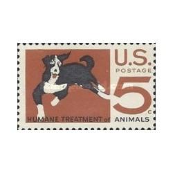 1 عدد تمبر درمان حیوانات توسط انسان - تصویر سگ - آمریکا 1966