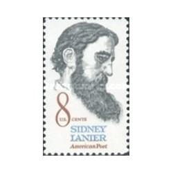 1 عدد تمبر سیدنی لنیر - شاعر  - آمریکا 1972