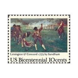 1 عدد تمبر تابلو نقاشی 200مین سال استقلال آمریکا - نبردهای معروف - آمریکا 1975