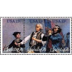 3 عدد تمبر تابلو نقاشی - اسپیریت 76- آرچیبالد ویلارد - آمریکا 1976