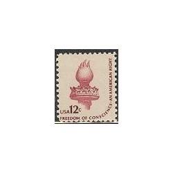 1 عدد تمبر سری پستی - آزادی وجدان - آمریکا 1981
