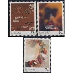 3 عدد تمبر تابلو نقاشی - پرتغال 1990