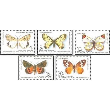 5 عدد تمبر پروانه ها - شوروی 1986