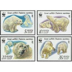 4 عدد تمبر خرسهای قطبی - WWF - شوروی 1987