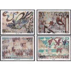 4 عدد تمبر نقاشی های دیواری غار دانهوانگ - نقاشی های سلسله تانگ - چین 1994