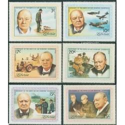 6 عدد تمبر صدمین سال تولد وینستون چرچیل - لیبریا 1974