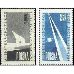 2 عدد تمبر سال بین المللی ژئوفیزیک - لهستان 1958