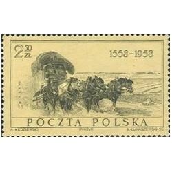 1 عدد تمبر 400مین سال پست لهستان - لهستان 1958
