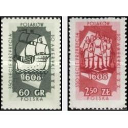 2 عدد تمبر ورود مهاجران لهستانی به آمریکا - لهستان 1958