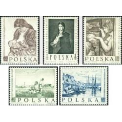 5 عدد تمبر تابلو نقاشی لهستانی - لهستان 1959