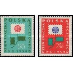 2 عدد تمبر روز تمبر - لهستان 1959