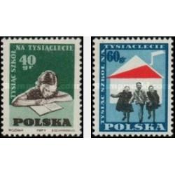 2 عدد تمبر هزارمین مدرسه در هزار سالگی لهستان - لهستان 1959