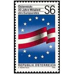 1 عدد تمبر سی امین سال عضویت در شورای اروپا - اتریش 1986