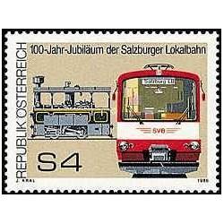 1 عدد تمبر صدمین سال قطارهای محلی سالزبورگ - اتریش 1986