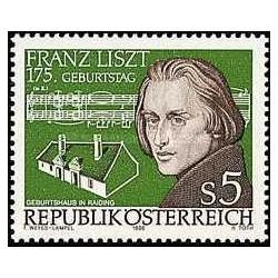 1 عدد تمبر یادبود فرانز لیزت - آهنگساز - اتریش 1986
