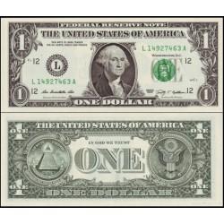 اسکناس پلیمر 1 دلار - آمریکا 2009 سری G شیکاگو - مهر سبز