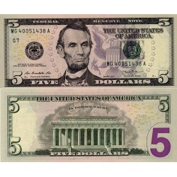 اسکناس 5 دلار - آمریکا 2013 سری D کلولند - مهر سبز
