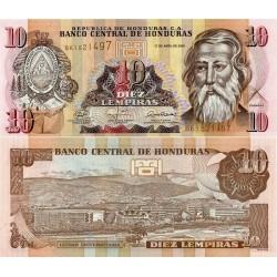 اسکناس 10 لمپیراس - هندوراس 2008