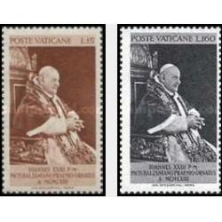 2 عدد تمبر ارائه جایزه صلح بالزان به پاپ جان بیست و سوم - واتیکان 1963