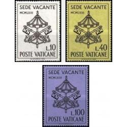 3 عدد تمبر فوت پاپ بیست و سوم - واتیکان 1963
