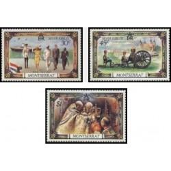 3 عدد تمبر جشن سلطنتی - 25مین سال رژیم ملکه الیزابت دوم  - مونتسرت 1977