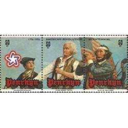 3 عدد تمبر دویستمین سال استقلال آمریکا - نقاشی توسط آرچیبالد - پنرین 1976