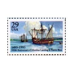 1 عدد تمبر رسیدن کشتی کریستف کلمب به پورتریکو  - آمریکا 1993