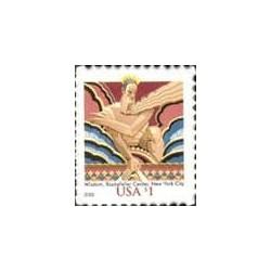 1 عدد تمبر مجسمه حکمت در مرکز راکفلر نیویورک - خود چسب - آمریکا 2008 - آمریکا 2003
