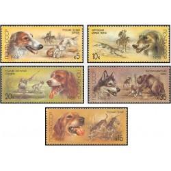 5 عدد تمبر سگهای شکاری - شوروی 1988