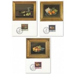 3 عدد ماکزیمم کارت تابلو نقاشی - میوه ها - لیختنشتاین 1990