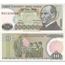 اسکناس 10 لیر - ترکیه 1970 در وانرمارک ابروی اتاتورک کم پشت