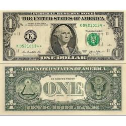 اسکناس 1 دلار - آمریکا 2013 سری C فیلادلفیا - مهر سبز