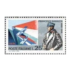 1 عدد تمبر یادبود فرانسیسکو باراکا - افسر ارتش - ایتالیا 1968